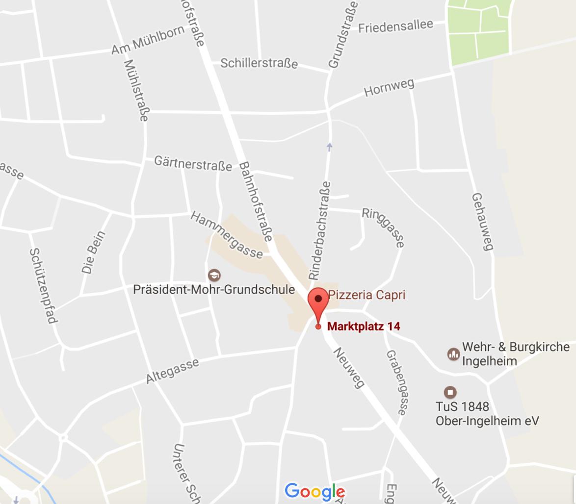 Anfahrtsskizze zur Hausarzt-Praxis Dr. Susanne Pfeiff, Marktplatz 14, Ober-Ingelheim